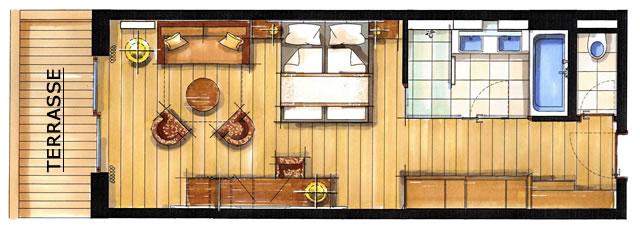 Zimmerskizze Doppelzimmer Jenner 50 m²