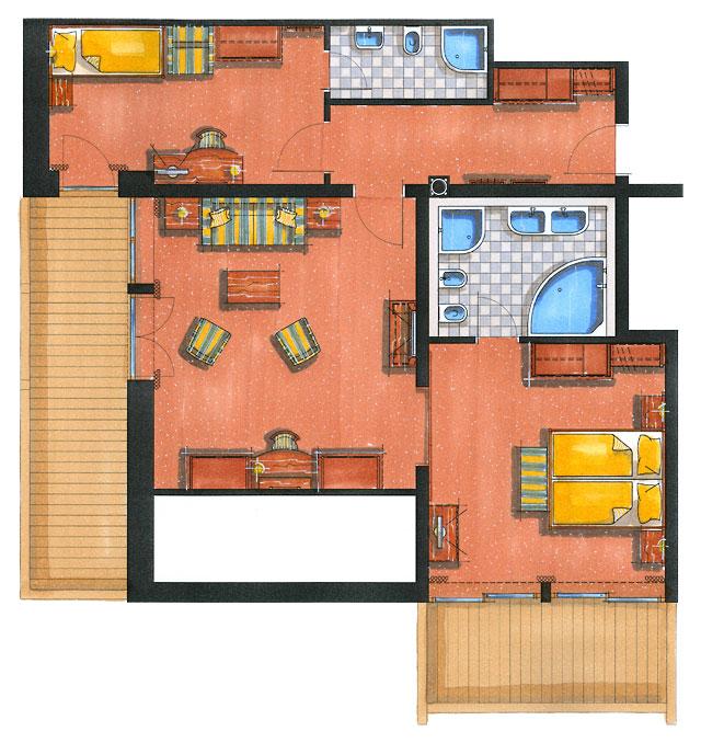 Zimmerskizze Suite Kaiserin Sissi – Familien-Variante 108 m²