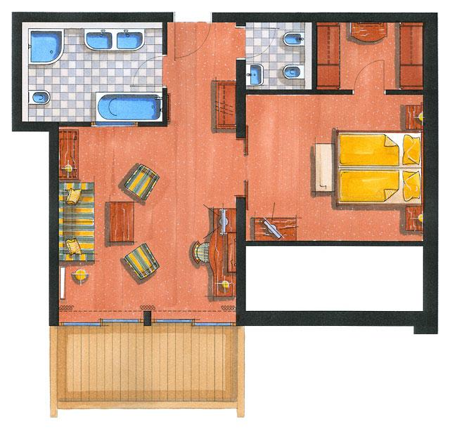 Zimmerskizze Suite Kaiserin Sissi – Pärchen-Variante 78 m²