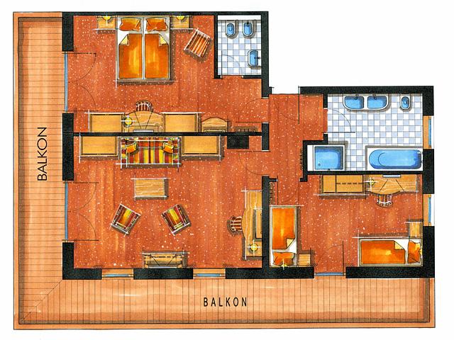Zimmerskizze Landhaus Suite 100 m²