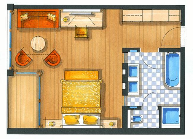 Zimmerskizze Doppelzimmer Natura 45m²