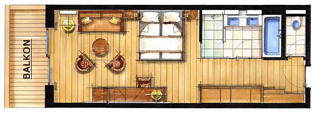 Zimmerskizze Doppelzimmer Watzmann 50 m²